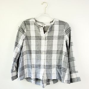 Madewell Button Up Plaid Speckled Long Sleeve